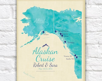 Alaskan Cruise, Travel Gift for Friends, Family, Newlyweds, Honeymoon, Anniversary - Alaska Cruise Map, Ketchikan, Skagway, Anchorage, Sea