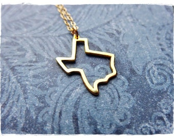 Gold Texas Outline Necklace - Gold Plate Texas Outline Charm on a Delicate 14kt Gold Filled Cable Chain or Charm Only