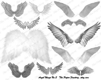 Angel Wings in Grey Digital Collage Sheet With Instant Digital Download