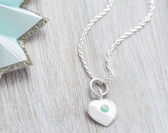 Personalised Sterling Silver Birthstone Heart Necklace (HBN25)