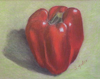 Original Colored Pencil Drawing - 5 x 7 Inch Still Life - Vegetable - Red Pepper - Kitchen Decor - Wall Art - Home Decor