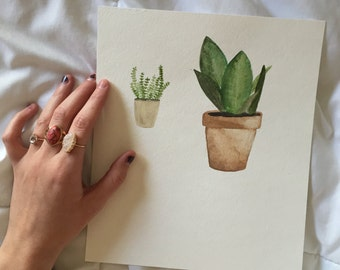 Minimalistic Hand Painted Watercolor Plants