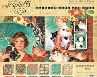 Raining Cats and Dogs Collection Set * 12x12, 8x8, 6x6, Chipboard 1 and 2, Ephemera Cards, Tags and Pockets, Banners, Flowers, Sticker Sheet