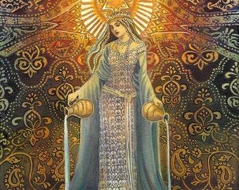 Star Goddess of Hope Mythological Tarot Art 11x14 Print Pagan Mythology Psychedelic Bohemian Gypsy Goddess Art