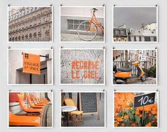 Fine Art Photography, Paris Gallery Wall Art, Orange Paris Photography Collection, Orange Wall Decor, Paris Decor, Oversized Wall Art