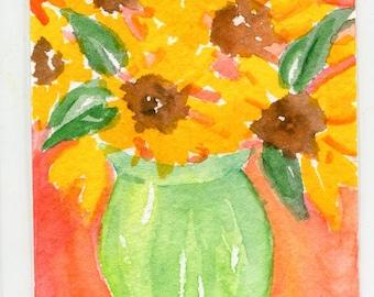 ACEO Original Sunflowers watercolors paintings, Sunflowers in green vase, original watercolor painting of sunflowers, sunflower decor