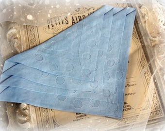 vintage hanky dreamy french blue shadow applique MINT condition