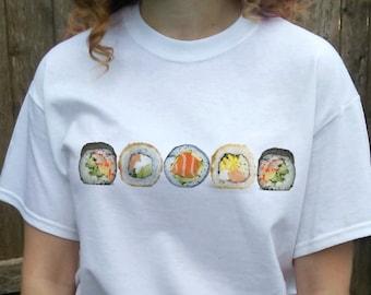SUSHI Shirt Sushi T-shirt Food tshirt sushi lover gift White gray or black Crewneck Crew