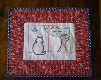Kitty in the Window Hand Embroidery Pattern PDF