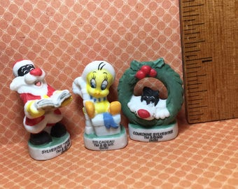 SYLVESTER the Cat & TWEETY Bird Christmas Warner Brothers Looney Tunes Cartoon - French Feve Feves Figurines Doll House Miniatures O25