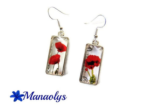 Poppies, rectangle shape, glass cabochons earrings