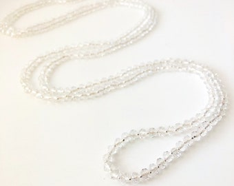 Clear Crystal Rondelle Sparkling Glass Beaded Necklace. Double Strand Necklace. Lariat Necklace. Opera Necklace. Boho Beaded Necklace.