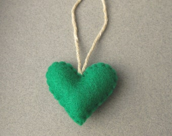Grünen Filz Herz Ornament, Christmas ornament fühlte sich Eco-freundliche recycelt