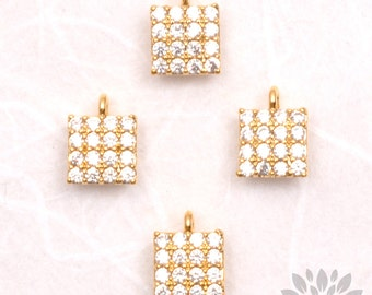 P478-G// Gold Plated 5mm Cubic Cube Pendant, 1 pc