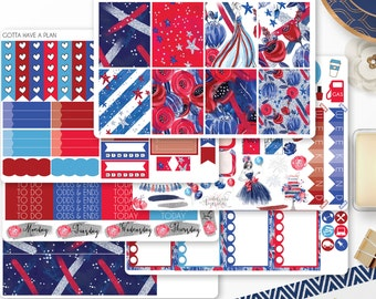 Planner Stickers July 4th Lady Liberty Kit for Erin Condren, Happy Planner, Filofax, Scrapbooking