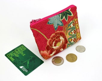 floral pouch, coin wallet, zippered coin purse, change pouch, coin pouch, Kimono fabric pouch, Peony Mari-ball Deep Pink
