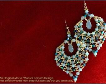 DIY Photo Tutorial ENG-ITA *Aylen* earrings,PDf Pattern 29 with swarovski&seed beads,instructions,beadweaving