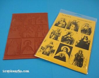 Saint Portraits / Invoke Arts Collage Rubber Stamps / Unmounted Stamp Set