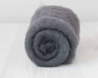 Carded Maori Wool, Storm, 50 grams (1.75 oz), needle felting wool