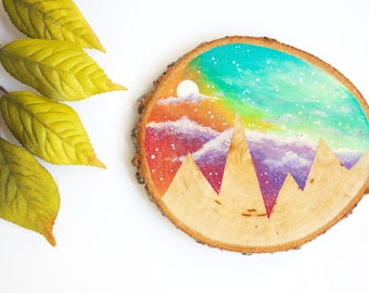 "Mountain Painting with Pastel Sky, 3.5"" Wood Slice Painting, Rainbow Mountain Wood Painting, Hand-Painted Mountain Painting, Wood Slice Art"