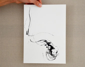 Original A4 Abstract ink drawing-forms,art,modern art,way,nature,wind,energy,movement,air,original ink drawing by Cristina Ripper