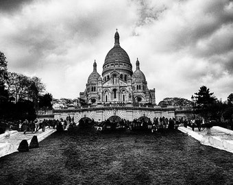 """Black and White Photography - Sacre Coeur park, Paris, Paris photography, Paris prints, Sacre Coeur wall art, Europe, travel - """"Perspective"""""""