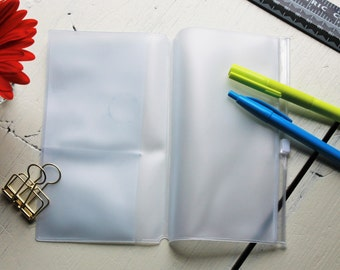 Personal / A6 - 6.5X3.7inch Transparent Plastic Traveler's Notebook Insert With 2 Card Slots/ Zipper Pocket