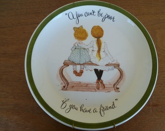"""Holly Hobbie 10"""" Collector Plate """"You can't be poor if you have a friend"""""""