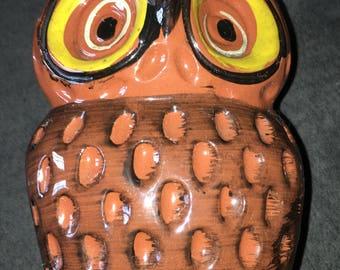 Vintage Pottery Owl Napkin Holder Kitchen Decor Woodland Creature Bird