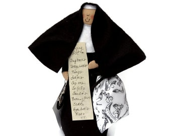 Novelty Nun Doll, shoe lover, shoe collector, gift for shoe addict, funny Catholic gift, nun collectible, fun nun figurine, the Sole Sister