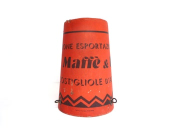 Vintage Industrial Cardboard Wine Cap Sign - Red and Black Advertising Cap Cover for Italian Wine Demijohn - 1970s