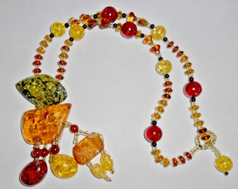 Huge beautiful vintage colorful multicolored faux amber pendant necklace