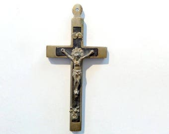Vintage French Brass Crucifix.  Cross Pendant. Crucifix necklace.