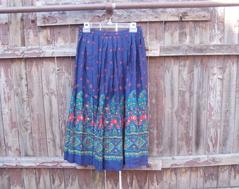 Vintage 1980s Navy Pleated Flowy Skirt / Floral / Green, Red, Gold