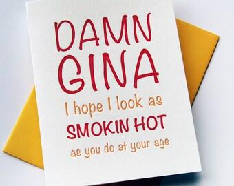 Letterpress Birthday Card - Damn Gina