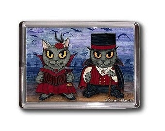 Vampire Cat Magnet Victorian Couple Graveyard Gothic Fantasy Cat Art Magnet Gifts For Cat Lovers