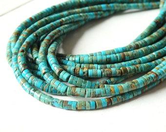 4mm Natural turquoise heishi beads - full strand of irregular turquoise heishi beads, Non-dyed turquoise beads, blue green turquoise heishi