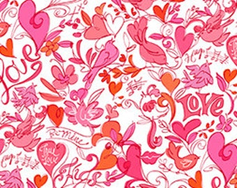 Clearance FABRIC XOXO Hugs and Kisses Hearts and Flowers on white Valentine's Day  1/2 Yard