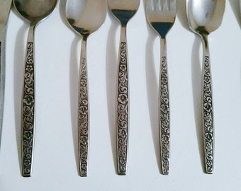 Stainless Flatware 68 Pieces Vintage Flatware Made in Korea Cottage Chic Farmhouse Style Vintage Serving Stainless Steel Flatware