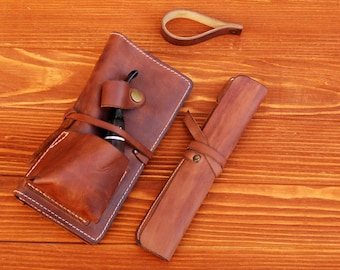 Personalized Leather Pipe & Tobacco Pouch Set - Include  Leather Pipe Cleaner Pouch and gift - Leather Pipe Stands - Hand Made