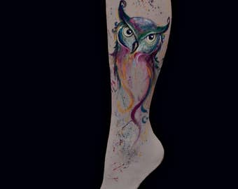 Owl tights, Owl Leggings, Colorful Bird Leggings