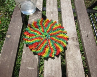 Handknitted sunny beach coasters - 100% rough wool