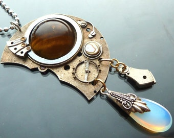 Steampunk Big Eye Crying Industrial Mechanical pendant with tigereye opal glass gears watch parts OOAK jewelry