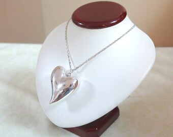 SALE: Large Sterling Silver Heart Necklace
