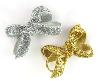 Gold and Silver Glitter Baby Hair Bows - small hair bows - baby girl bows - newborn hair bows - 2 inch - infant hair bows - metallic bow MM