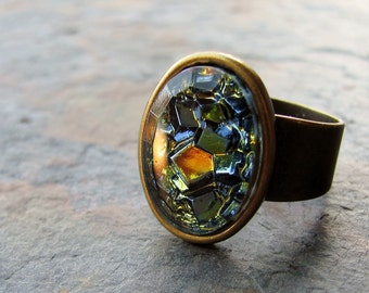 Geometric Vintage Glass Cabochon and Antique Brass Adjustable Ring