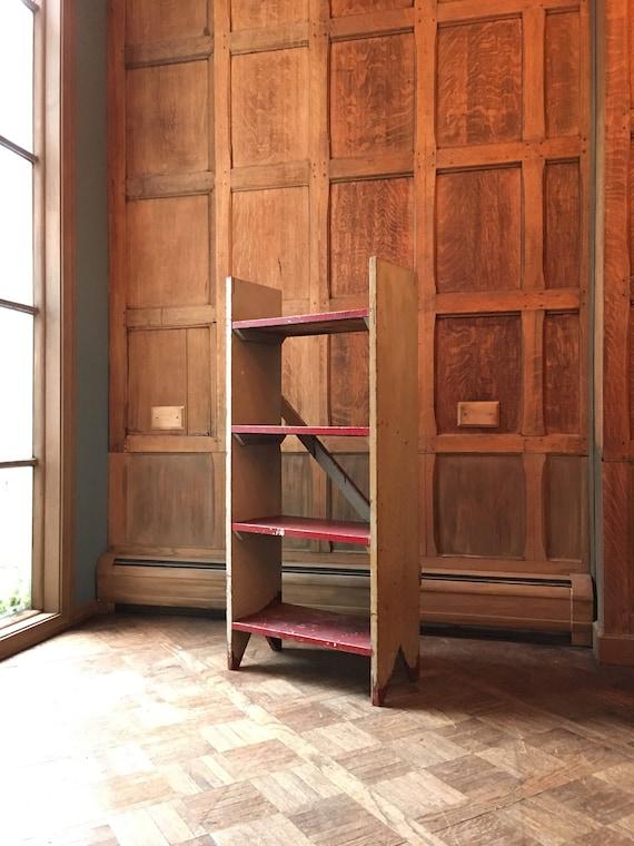 Vintage Industrial Shelf, Primitive Painted Wood Shelf, Old Hardware Store Shelf