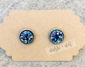 10mm Blue/Green/Red Druzy Earring, Faux Druzy Earrings, Childrens Earrings, Surgical Steel Earrings, Hypoallergenic Earrings, Rose Gold