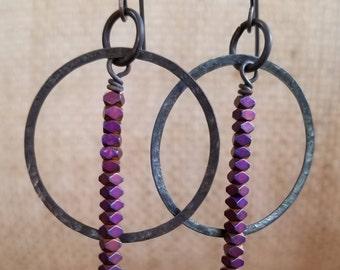 purple hematite and oxidized bronze hoop earrings