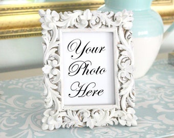 HAND-PAINTED, Upcycled Heavy Resin, Embossed Pattern Picture Frame, Shabby Chic, Distressed Frame